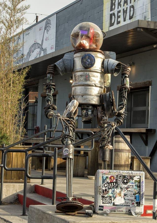 Surrealistic metal robot scupture Deep Ellum, Dallas, Texas stock images