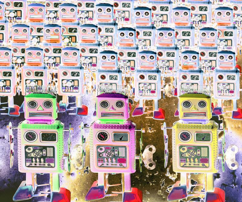 Surrealistic robot toys Marching forward a. Bstract image stock photos