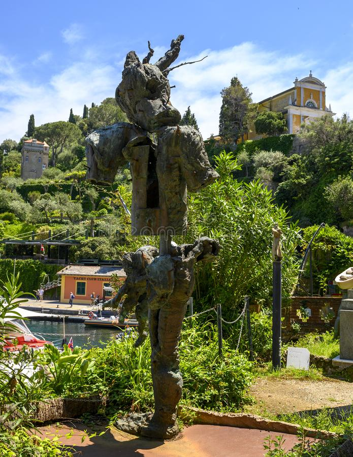 Surrealistic totem sculpture by Guiseppe Spagnola, Museo del Parco in Portofino, Italy royalty free stock photo