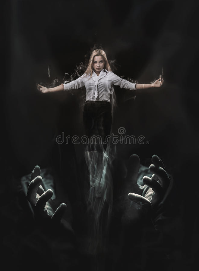 Surrealistic vision of woman liberated from oppression. And intolerance stock images
