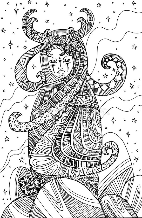 Download Surrealistic Woman Shaman Coloring Page For Children And Adults Stock Vector