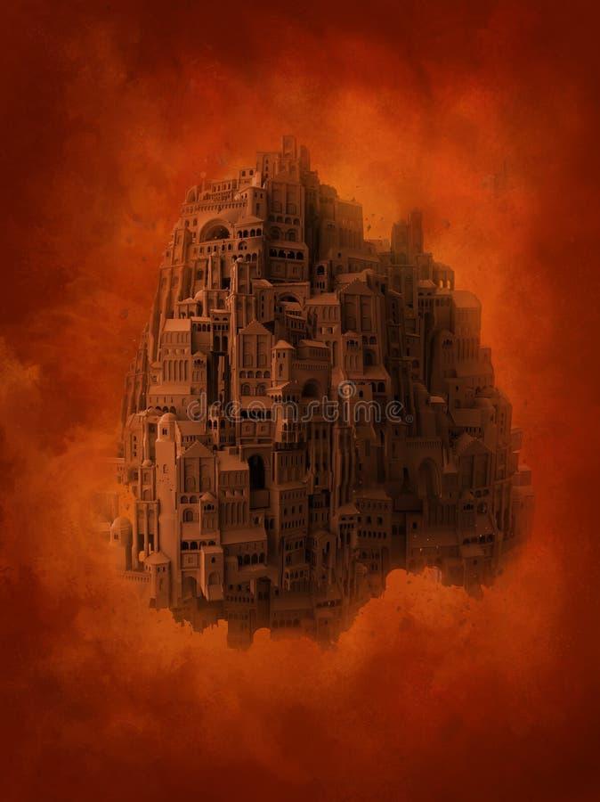 Surrealistische middeleeuwse stadsvlucht stock fotografie