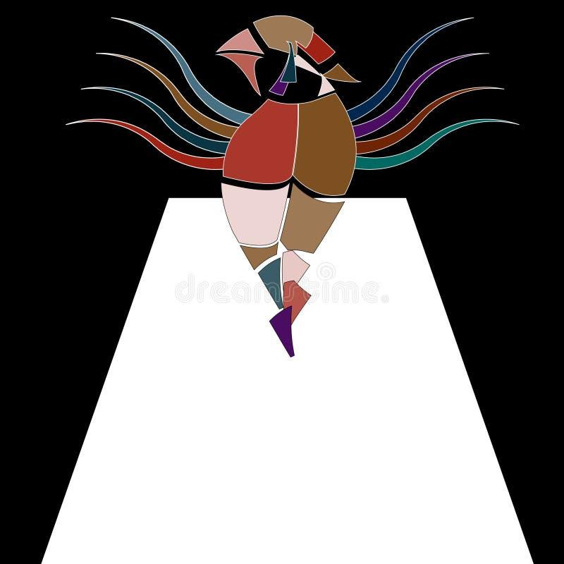 Surrealistisk bildlig vektorillustration med den blyga fågelkvinnan i stycken som går på catwalk royaltyfri illustrationer