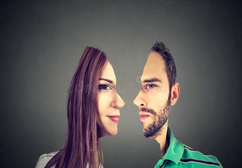 Surrealistisk ståendeframdel med för snitt profil ut av en man och en kvinna royaltyfri bild