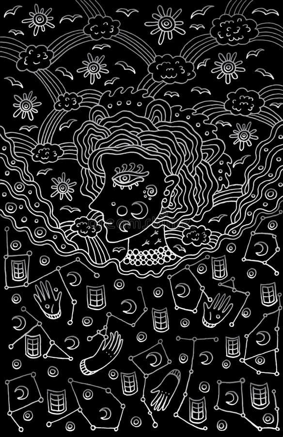 Surrealistyczna dziewczyny bogini nocy i dnia niebo Plemienny bajki wom ilustracji
