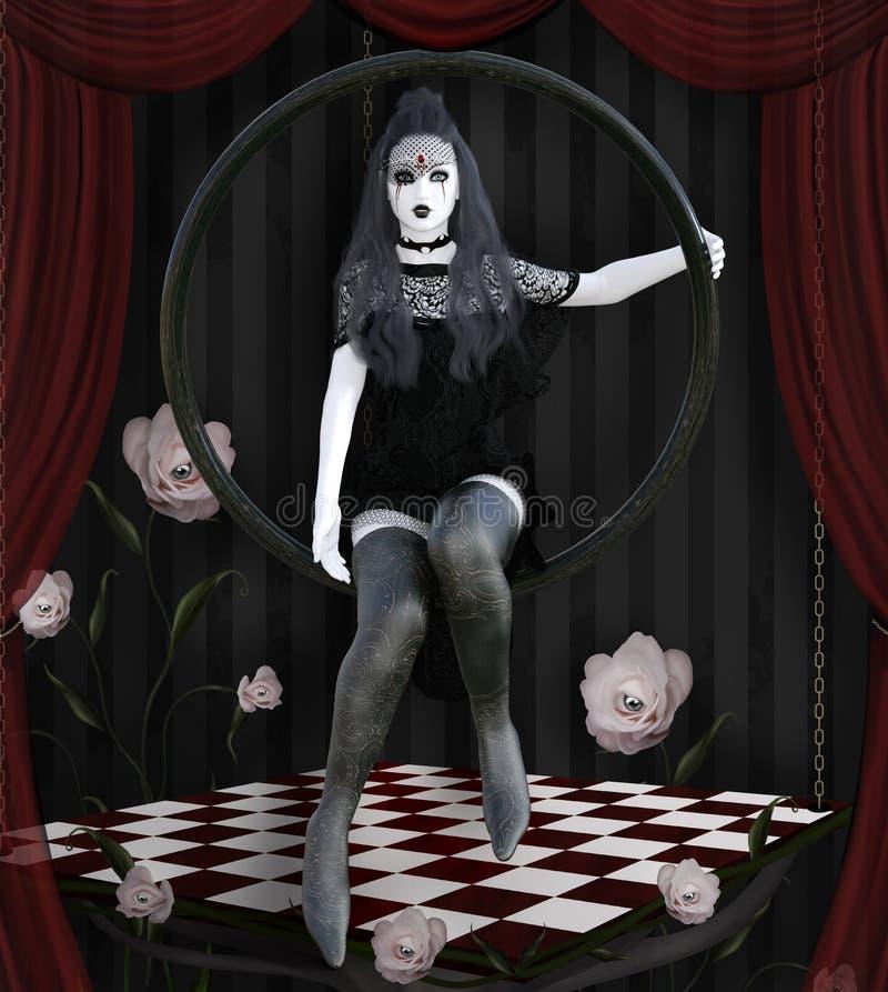 Surrealistyczna gothic dziewczyna na scenie royalty ilustracja