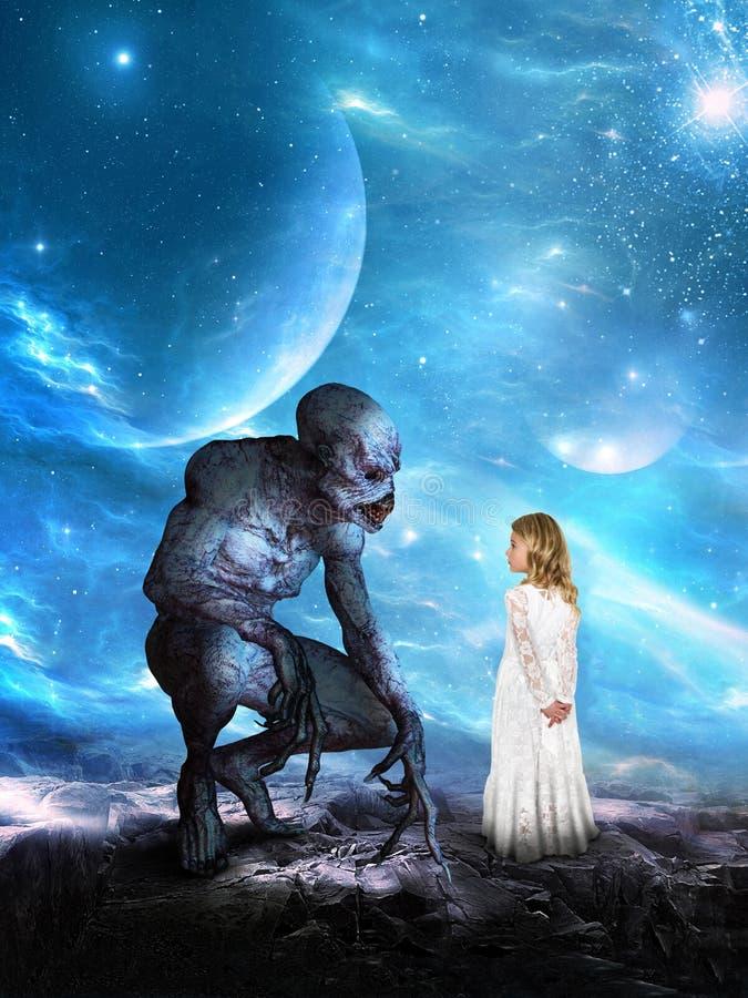Surrealistyczna Obca planeta, dziewczyna, wyobraźnia fotografia stock