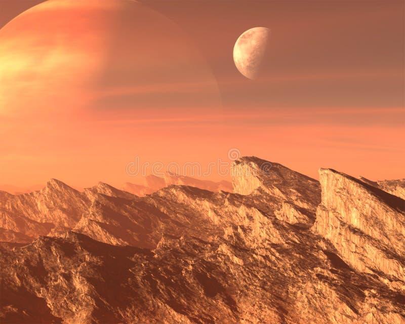 Surrealistyczna Obca planeta, księżyc tło fotografia stock