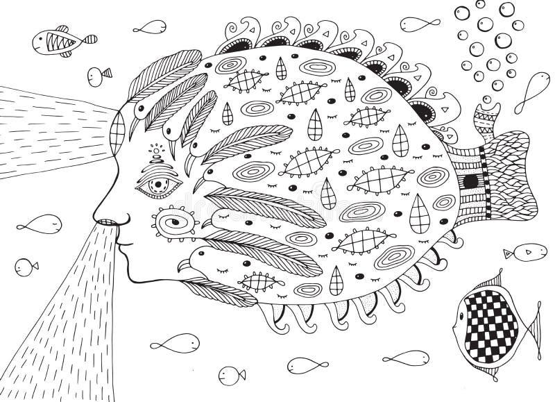Surrealistyczna rybia łódź podwodna w oceanie Doodle kreskowy fantastyczny illustrat royalty ilustracja