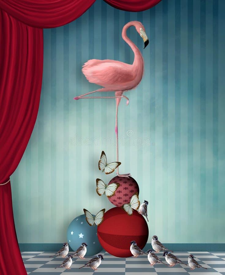 Surrealistyczna scena z flamingiem, motylami i wróblami, royalty ilustracja