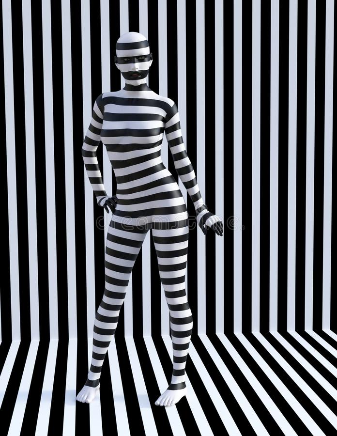 Surrealistyczna zebry kobieta, lampasy, dziewczyna royalty ilustracja