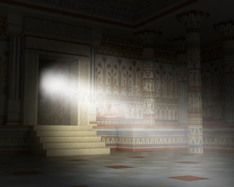 Surrealistyczny Antyczny Egipski grobowiec, ostrosłup, Egipt, wnętrze zdjęcie royalty free