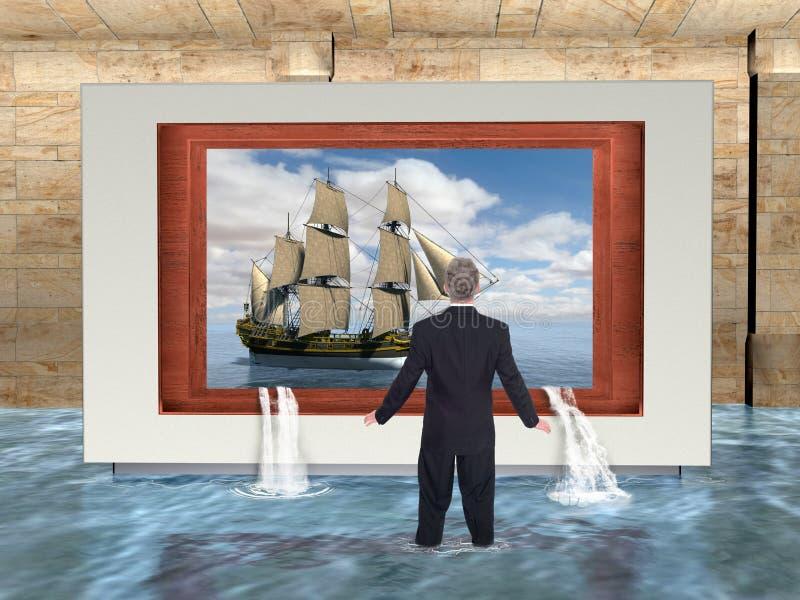 Surrealistyczny biznes, sprzedaże, marketing, woda ilustracji
