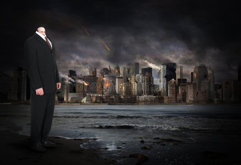 Surrealistyczny biznesmen, Biznesowy mężczyzna, apokalipsa zdjęcia stock