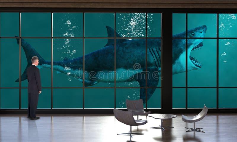 Surrealistyczny Biznesowy biuro, sprzedaże, marketing, rekin obrazy stock