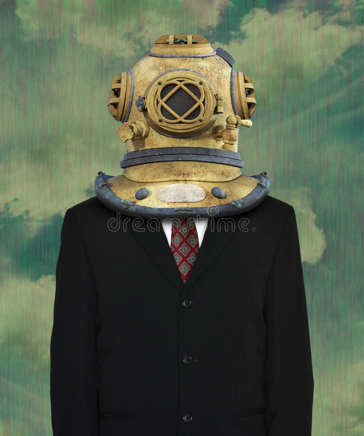 Surrealistyczny garnitur, Nurkowy hełm zdjęcia stock