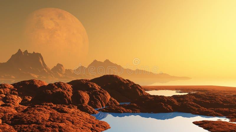 Surrealistyczny krajobraz z planetą royalty ilustracja