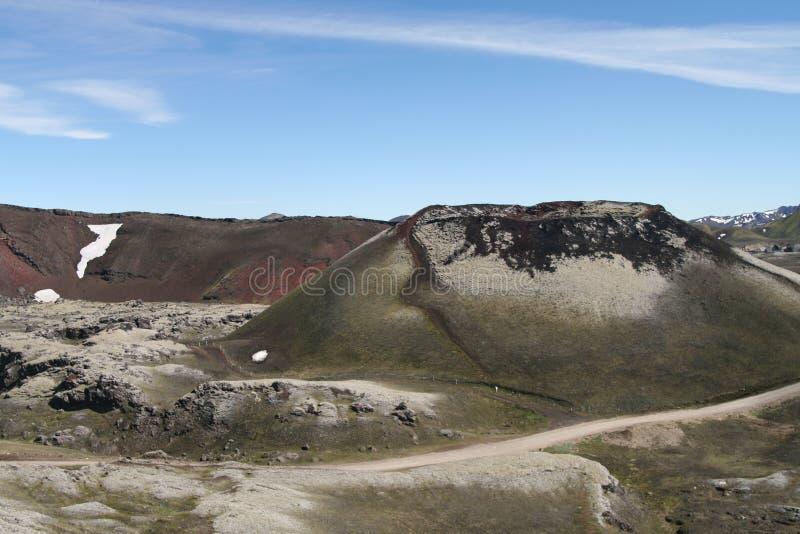 Surrealistyczny krater w irrealnym jałowym krajobrazie - Lak wulkanu krater, Iceland fotografia stock