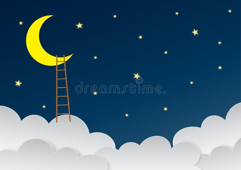 Surrealistyczny piękny niebo z półksiężyc księżyc i drabinami Wektor eps royalty ilustracja