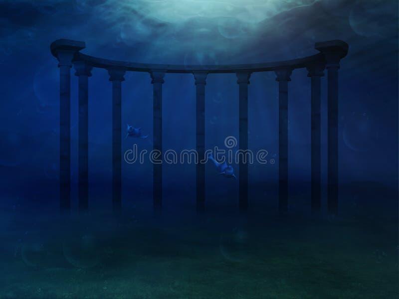 Surrealistyczny podwodny krajobraz ilustracja wektor