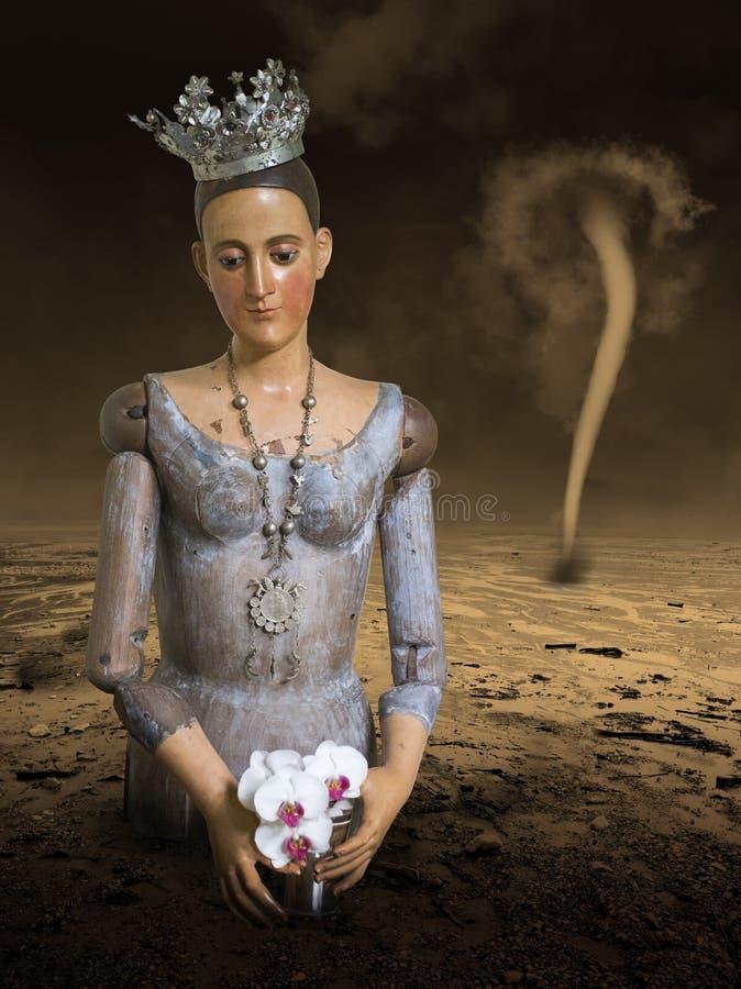 Surrealistyczny Princess, królowa, Zdewastowana pustynia obrazy royalty free