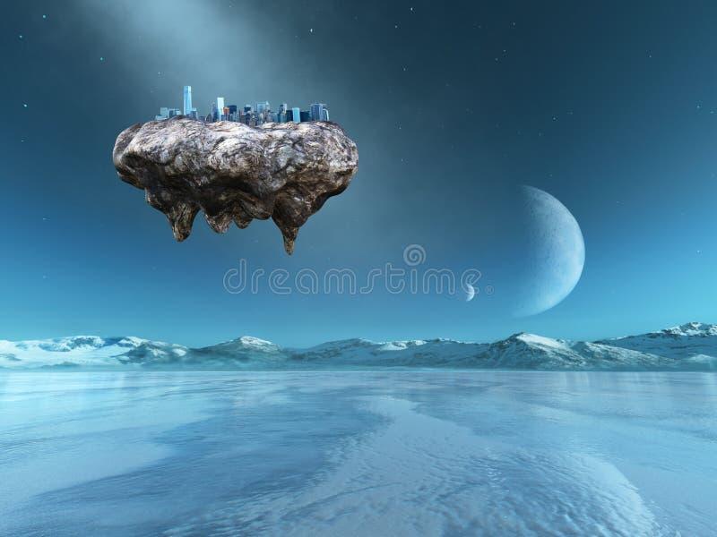 Surrealistyczny Spławowy miasto, Obca planeta ilustracja wektor
