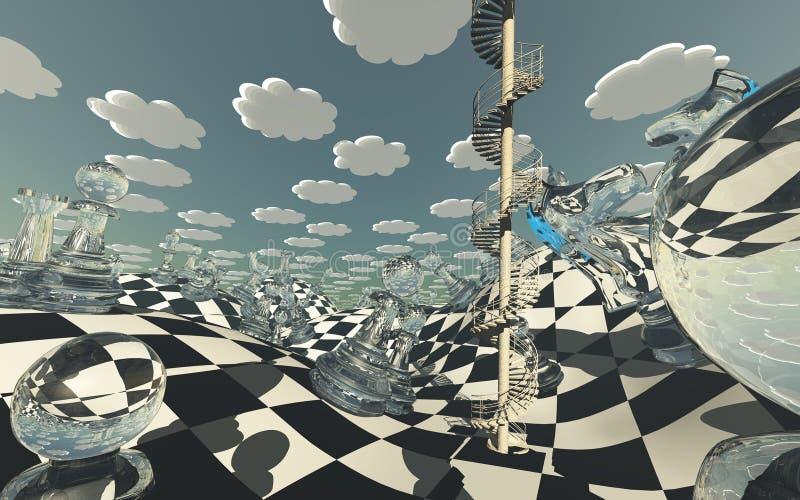 Surrealistyczny Szachowej deski krajobraz royalty ilustracja