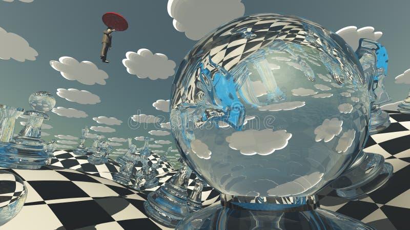 Surrealistyczny szachy krajobraz royalty ilustracja