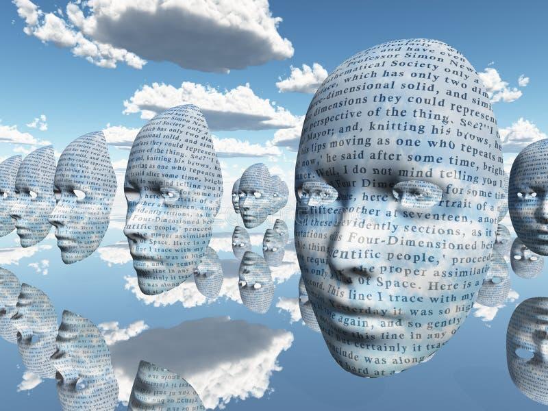 surrealistyczny twarz tekst ilustracji