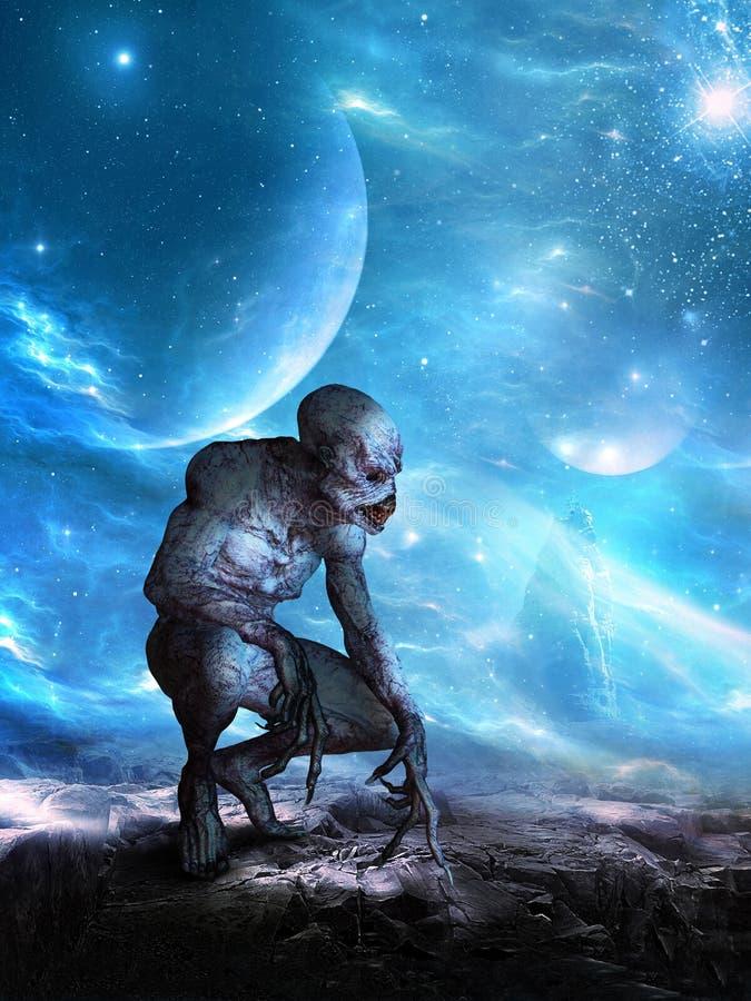 Surrealistyczny UFO Astronautyczny obcy, planeta ilustracja wektor