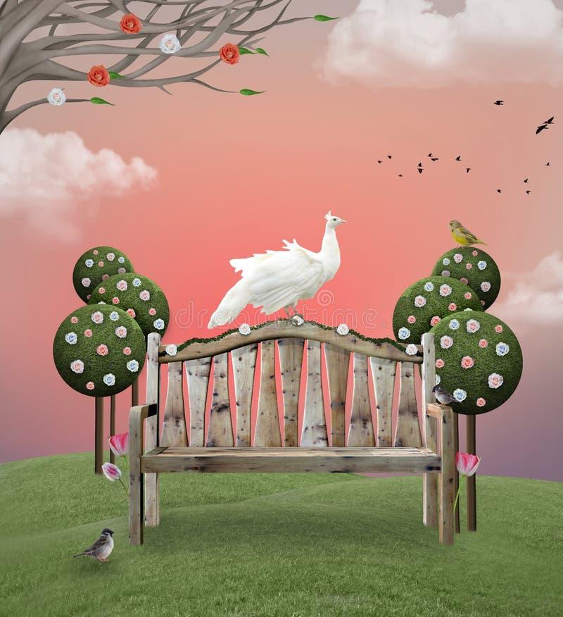 Surrealistyczny wieś krajobraz z ławką ilustracji