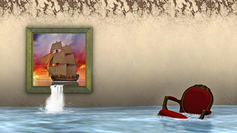 Surrealistyczny Wysoki żeglowanie statek, powódź ilustracja wektor