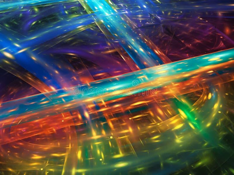 Surreality vibrante visivo di frattale di manifestazione di caos del partito di rotazione di sogno artistico luminoso creativo as illustrazione vettoriale