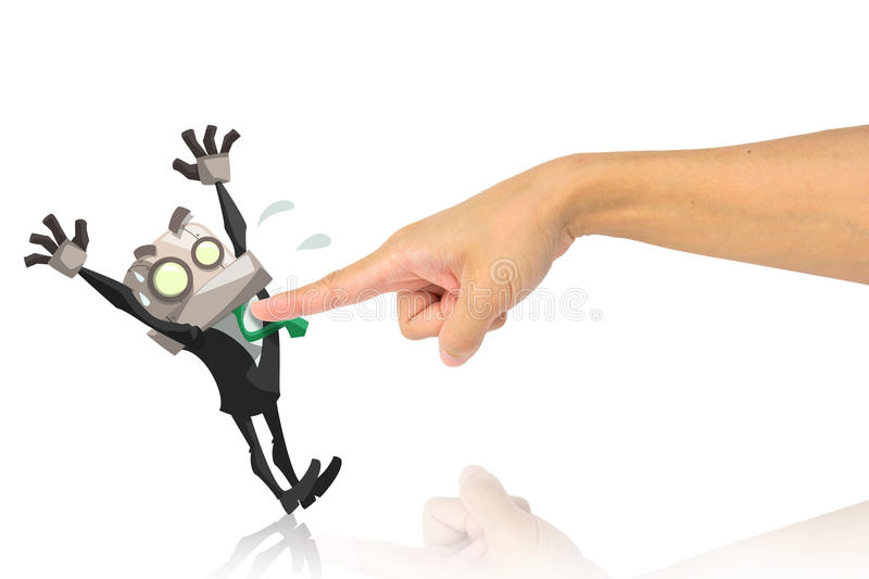 Surrender. Bossy hand point to businessman in surrender action royalty free illustration