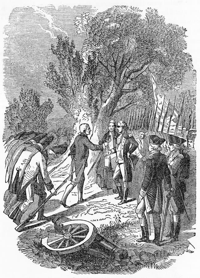 Surrender of Burgoyne during the war of Independence. Engraving of the surrender of Burgoyne during the war of Independence, 1777. From A New History of the USA vector illustration