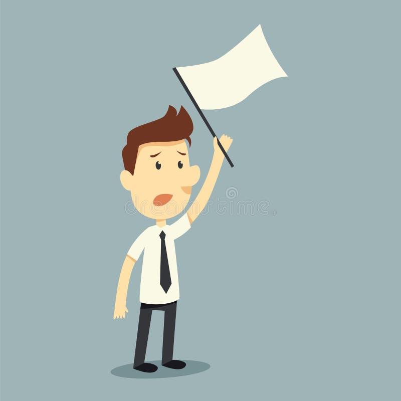 Surrender. Businessman hold white flag of surrender vector illustration