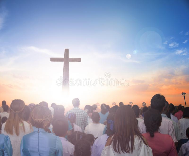 Surrender Concept: Now Christian praise Jesus reborn in easter day concept for wisdom life, hope faith love stock image