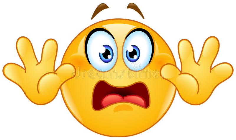 Surrender emoticon. Emoticon with hands up. Showing don't shoot or surrender or stop hand gesture stock illustration