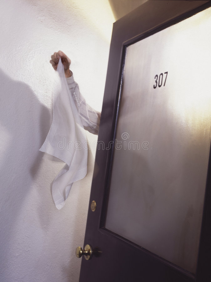 Download Surrender flag at door stock image. Image of white, loss - 5938449