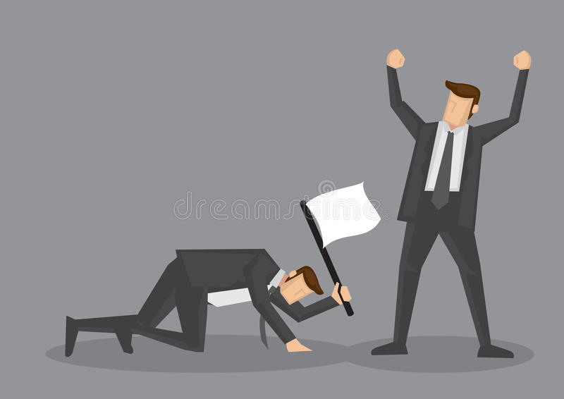 Surrender with White Flag Conceptual Vector Illustration. Winner raised arm in victory gesture and loser crawling on floor with white flag to surrender. Vector stock illustration