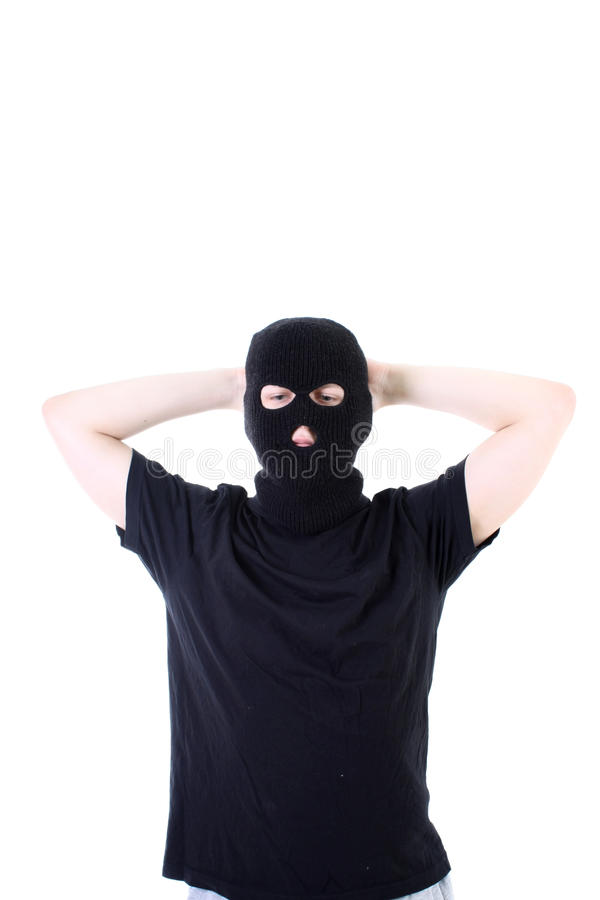 Download The Surrendered Criminal In A Mask Stock Image - Image: 13614685