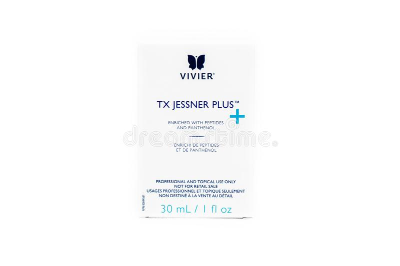 Surrey, BC / Canada - 07/16/19:  Vivier chemical peel product showing branded box of Jessner Peel formula isolated on a white back. Ground royalty free stock image