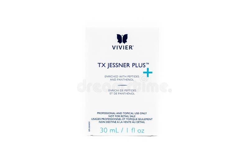 Surrey, BC / Canada - 07/16/19: Vivier chemisch schillen product met de merkverpakking van Jessner Peel-formule, geïsoleerd op ee royalty-vrije stock afbeelding