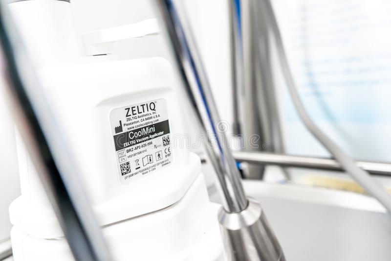 Zeltiq CoolSculpting machine part, showing label, in a medical spa beauty center. Used for royalty free stock images