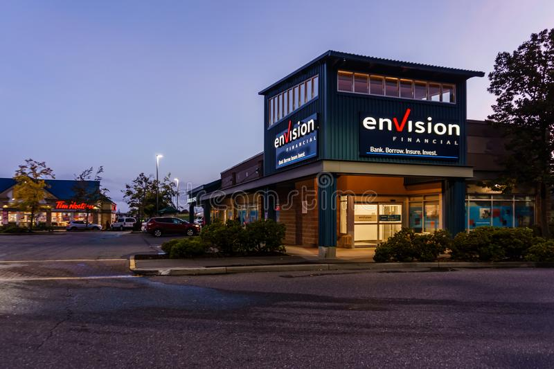 SURREY, CANADA - SEPTEMBER 25, 2019: envision financial office strip mall in early morning royalty free stock photo