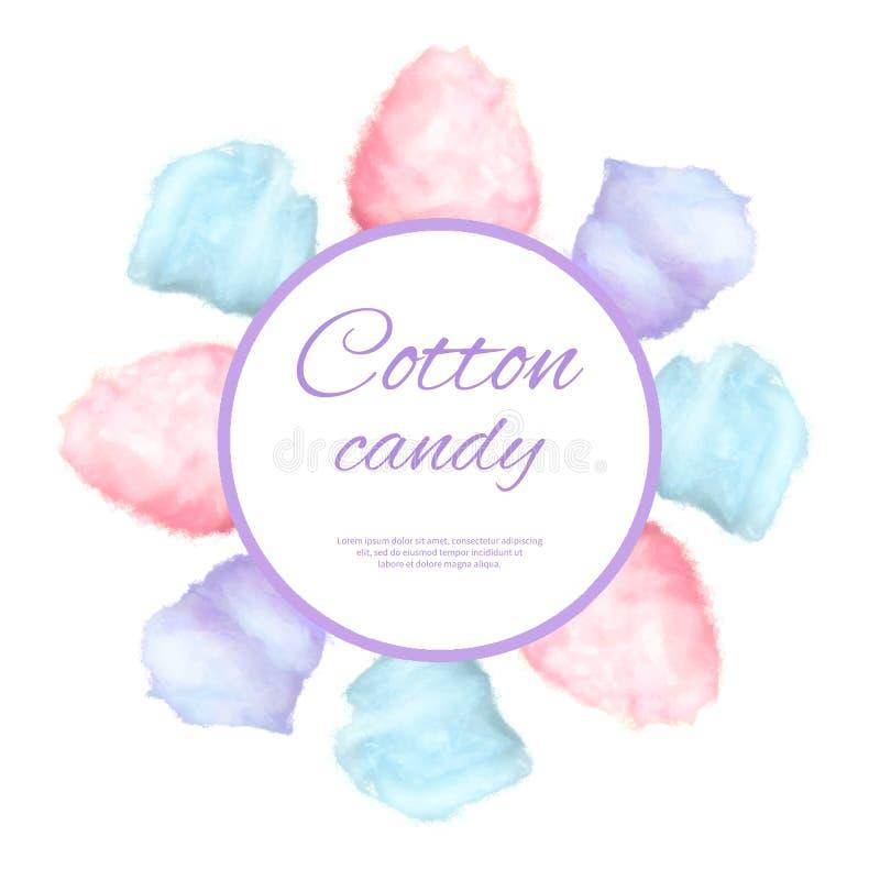 Surround кнопки конфеты хлопка круглый сладостным сахаром иллюстрация штока