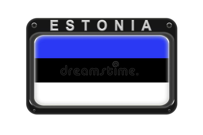 The flag of Estonia in the frame with rivets on white background vector illustration