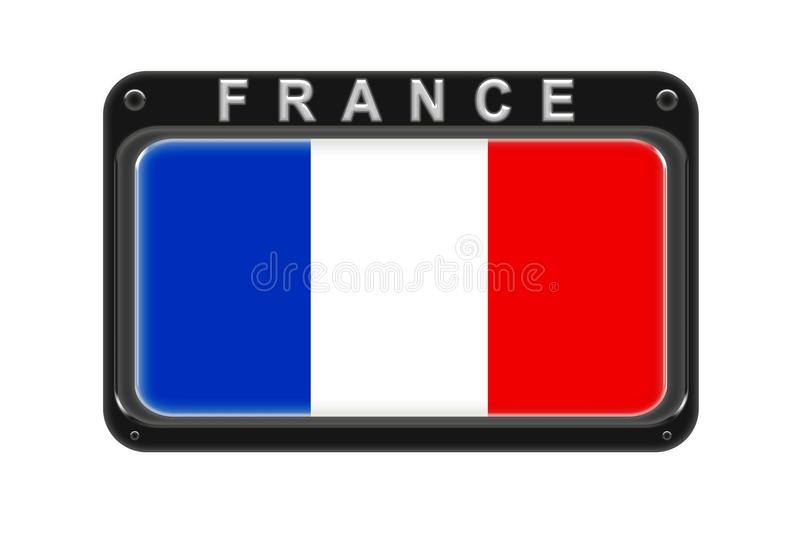 The flag of France in the frame with rivets on white background stock illustration