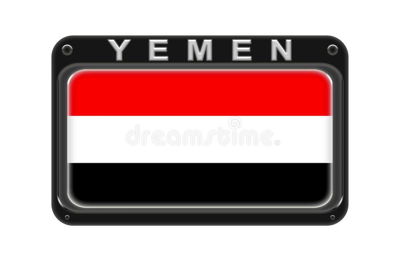The flag of Yemen in the frame with rivets on white background stock illustration