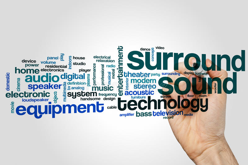 Surround sound word cloud stock photography
